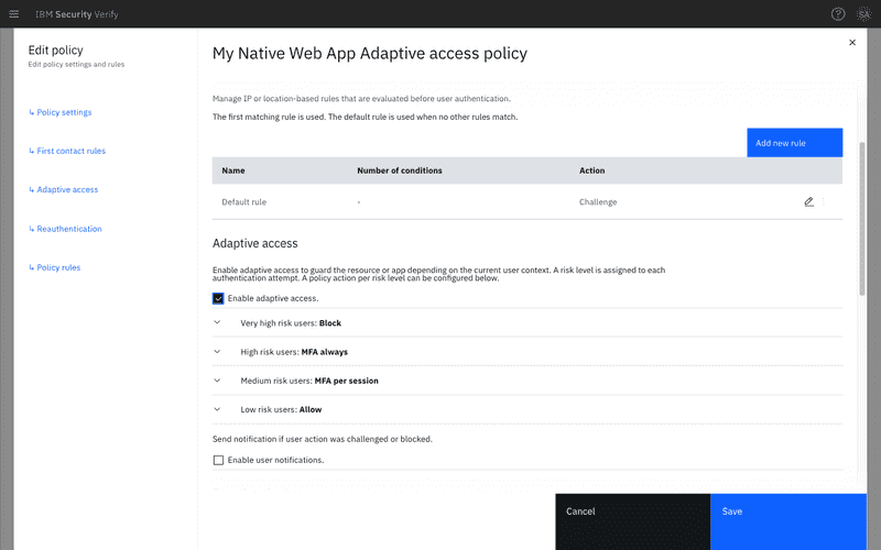Enable Adaptive access checkbox in the policy