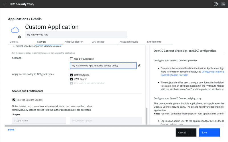 Enable Adaptive access policy for the application